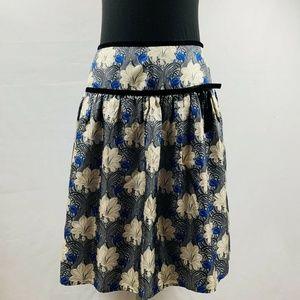 Tibi Skirt Navy Floral A-Line 100% Silk